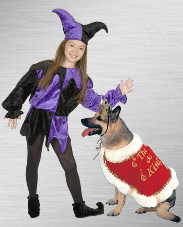 Kids Jester Costume and King Dog Costume Ideas