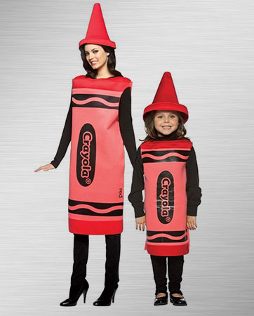 Women and Kids Red Crayon Costume