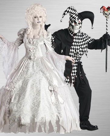 Ghost Lady and Evil Jester Costume Ideas & Masquerade Costumes - Halloween Costumes | BuyCostumes.com