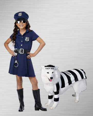 girls police and prisoner dog costume ideas