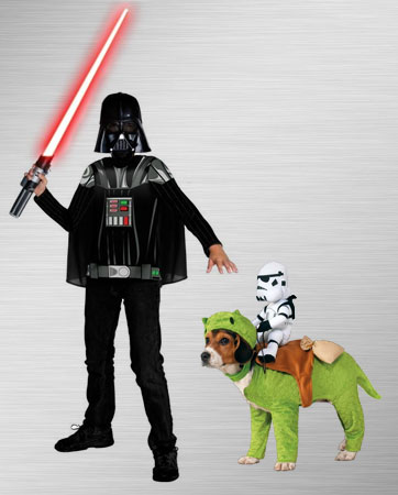 Kid Darth Vader and Dewback Rider Dog Costume Ideas