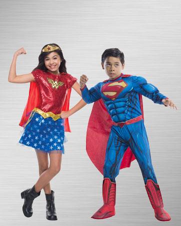 Boy Superman and Girl Wonder Woman Costume Ideas