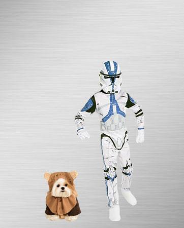 Stormtrooper Child and Ewok Dog Costume Ideas
