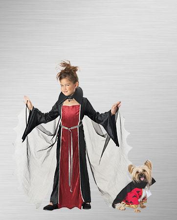 Vampire Child Girl and Vampire Dog Costume