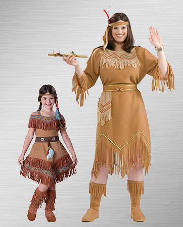 Pocahontas Woman and Indian Maiden Child