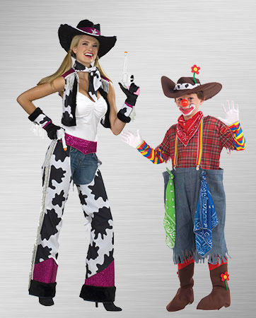 Rodeo Clown and Glamour Cowgirl Costume Ideas