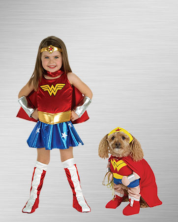 Alternative Wonder Woman Kid Costume and Wonder Dog