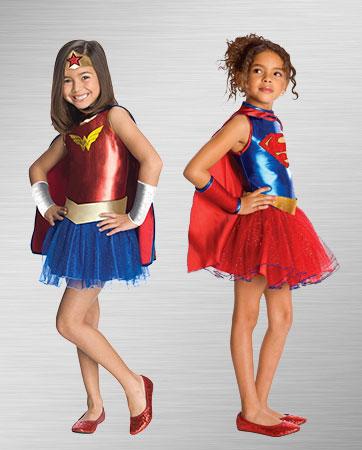 Wonder Woman and Supergirl Kid Costumes