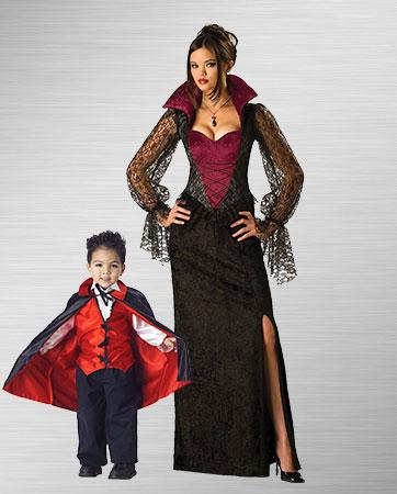 Gothic Vampira and Toddler Costumes