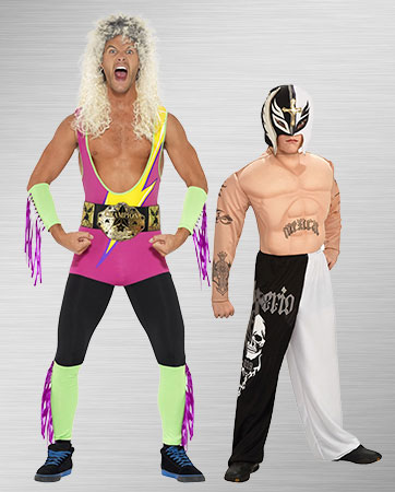 Adult Retro and Kid Modern Wrestler Costumes