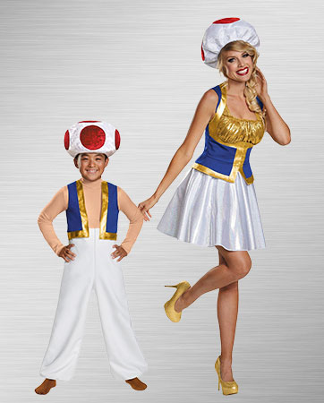 Adult Toad and Kid Yoshi Costumes