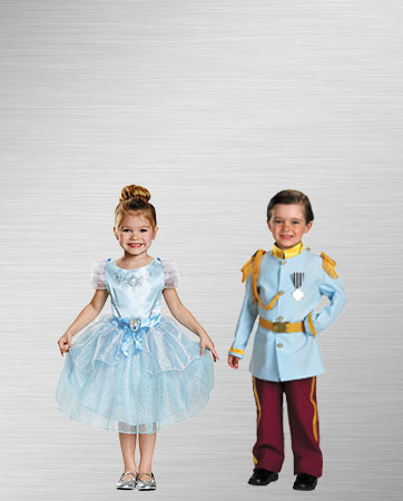 Kid's Prince Charming and Cinderella Costumes
