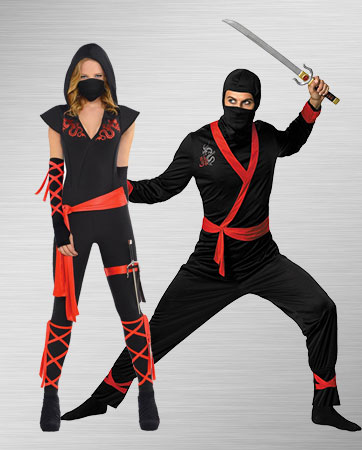 Adult Female Ninja and Male Ninja Costumes