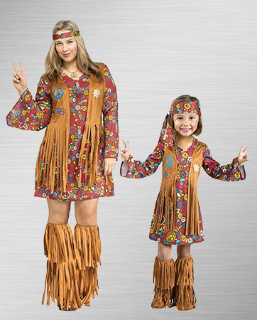 Mom and Girl Hippie Costumes