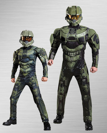 Boy Master Chief and Adult Master Chief Costumes