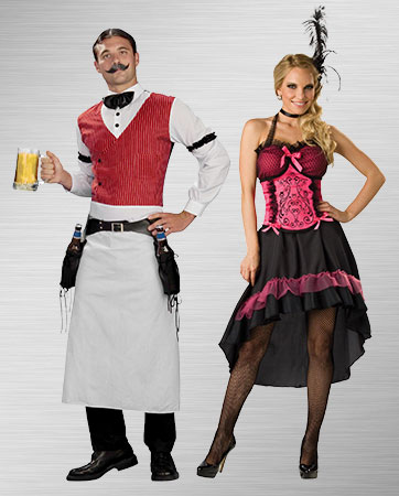 Saloon Gal and Bartender Costumes