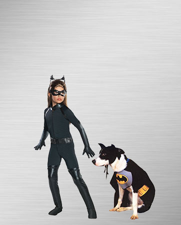 Girl's Catwoman and Bat Dog Costumes