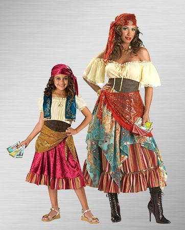Gypsy Woman and Gypsy Girl Costumes