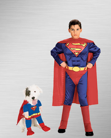 Superman Dog and Boy Costumes