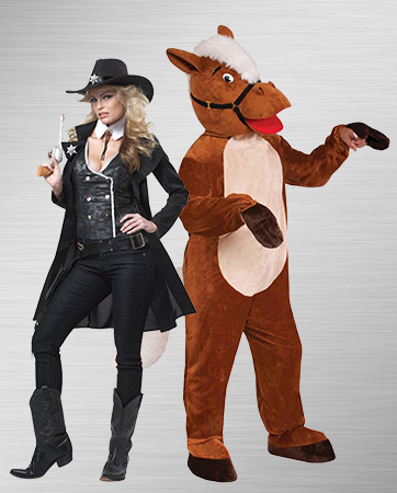 Woman Cowboy and Male Horse Costumes