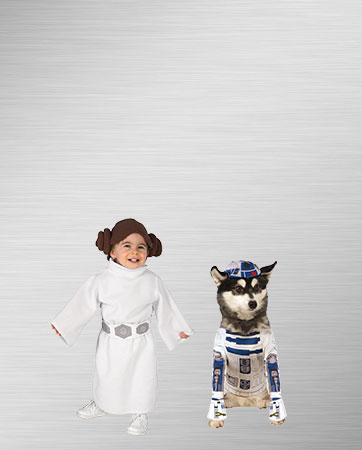 Princess Leia Girl and R2D2 Dog Costumes