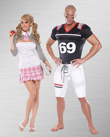 School Girl and Football Player Costumes