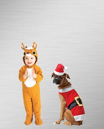 Santa Dog and Infant Reindeer Costumes