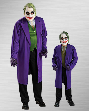 Adult Joker and Child Joker Costumes