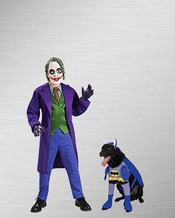 Child Joker and Pet Batman Costumes