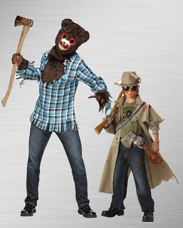 Psycho Teddy Bear and Zombie Hunter Couple Costumes
