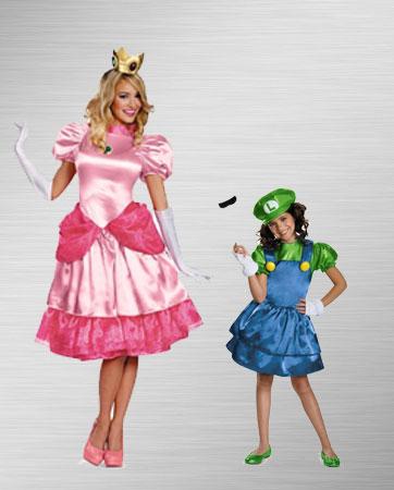 Princess Peach and Luigi Costumes