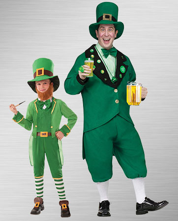 Child Leprechaun and Adult Leprechaun Costumes