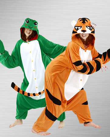 Cozy Tiger and Frog Costumes