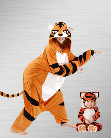 Adult Tiger and Baby Tiger Costumes